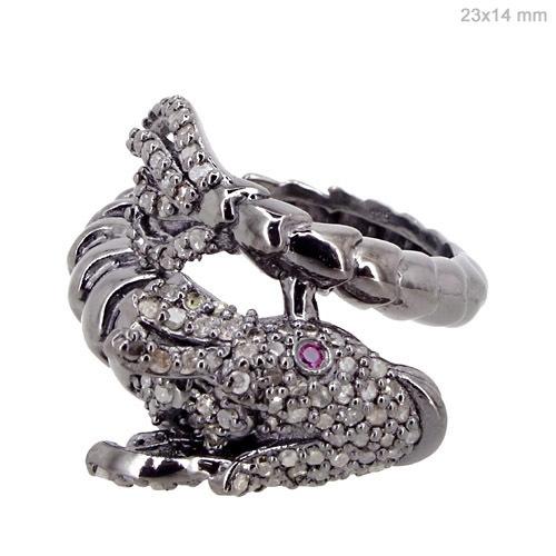 Diamond Ruby Silver Ring