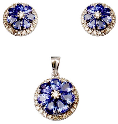 Pear Cluster Tanzanite And Accent Diamond Jewelry