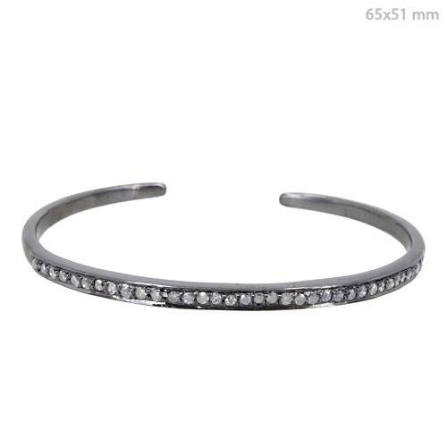 Silver Diamond Open Sleek Bangle