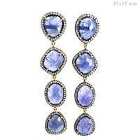 Gold Pave Diamond Tanzanite Earrings