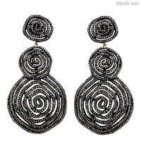 Pave Diamond Gold Spiral Earrings