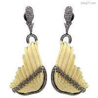 Diamond Gemstone Wings Carving Earrings