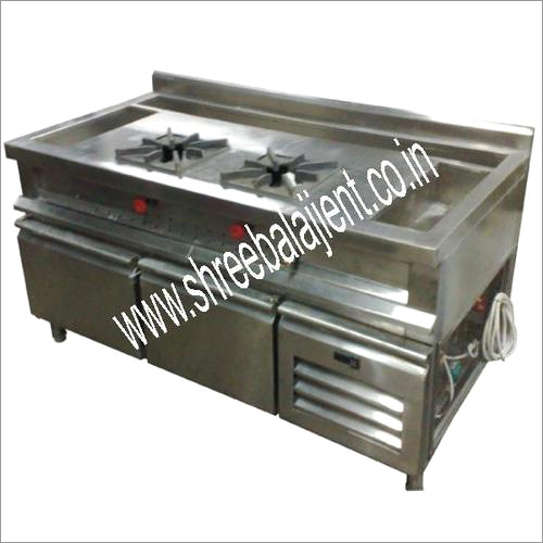 2 Burner Gas Range Cum Under Counter Refrigerator