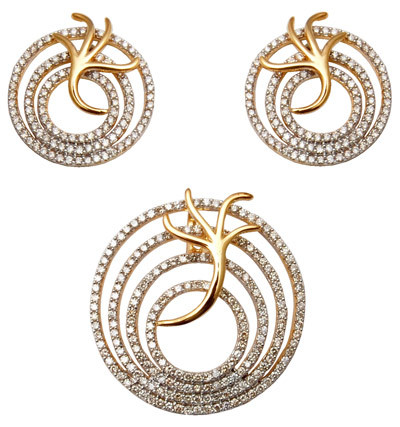 Modern Round Circle Earring And Pendent Sets