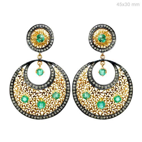 Gemstone Diamond Gold Ethnic Earrings