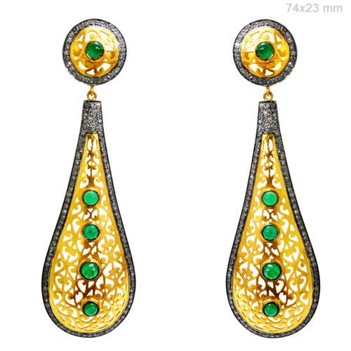 Gold Diamond Emerald Filigree Earrings