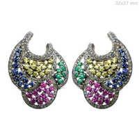 Multi Sapphire Gold Diamond Earrings