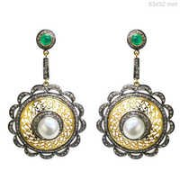 Gold Diamond Gemstone Earrings