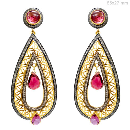 Gold Diamond Pink Tourmaline Earrings
