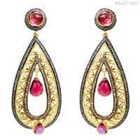 Gold Diamond Pink Tourmaline Earrings