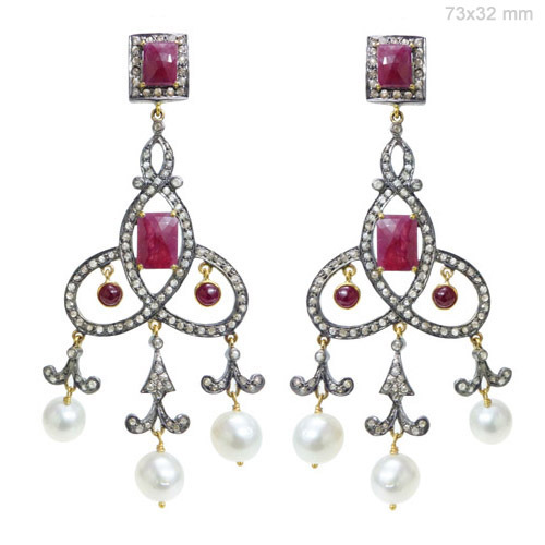 Ruby Pearl Diamond Gold Earrings