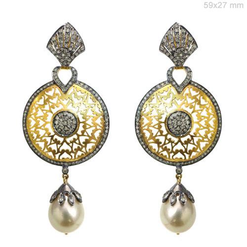 Pearl Diamond Gold Dangle Filigree Earrings