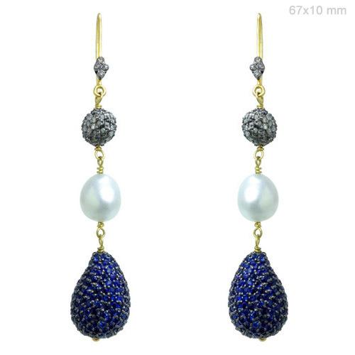 Blue Sapphire Pearl Diamond Earrings