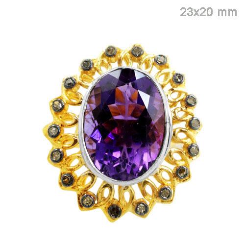 Gold Amethyst Diamond Ring