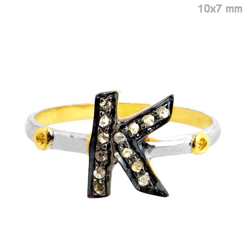 Pave Diamond Gold 'K' Ring Jewelry