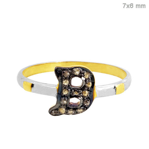 Gold Diamond B Ring Jewelry