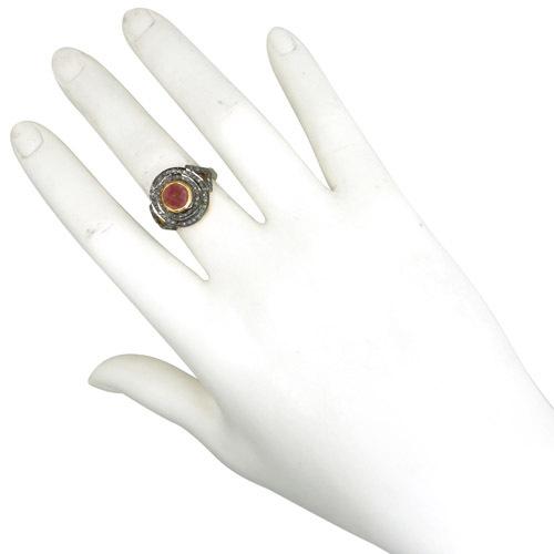Gemstone Sterling Silver Diamond Ring
