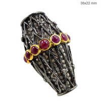 Silver Ruby Diamond Ring