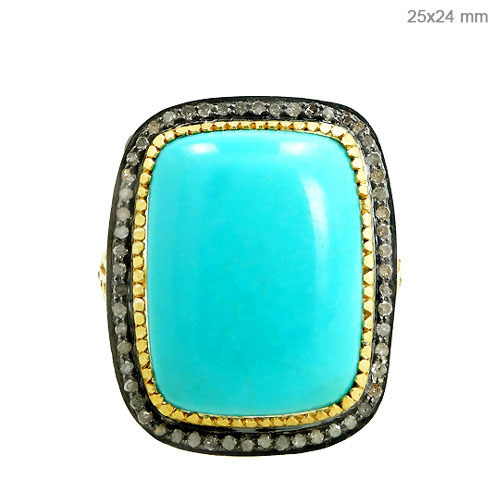 Gold Diamond Turquoise Ring