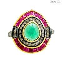 Precious Gemstone Diamond Silver Ring Gold Jewelry