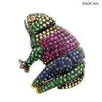 Frog Shape Gemstone Ring