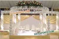 Fiber Crystal Mandap With Pot Pillars