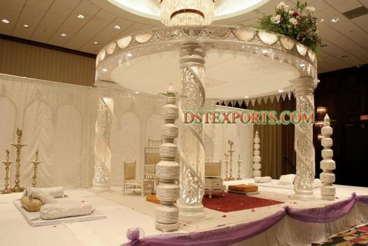 Fiber Crystal Silver  Mandap For Wedding