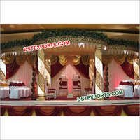 Gold Fiber Crystal  mandap With Pot Pillars