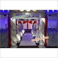 Latest Fiber Crystal Six Pillar Mandap Set