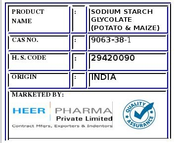 Sodium Starch Glycolate- Potato/Maize
