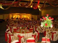 WEDDING CHAIR COVER WITH RED SASHAS