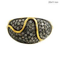 Natural Diamond Yellow Gold Ring Silver Jewelry