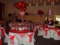 WEDDING WHITE CHAIR COVER WITH RED SASHAS