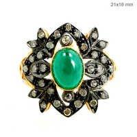 Emerald Diamond Gold Ring Flower Shape Jewelry