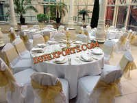 Wedding Chair Cover With Golden Sashas
