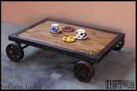 Vintage Industrial Cart Coffee Table