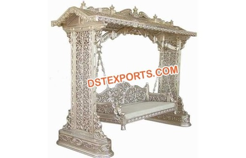 Indian Wedding Silver Metal Carved Jhula
