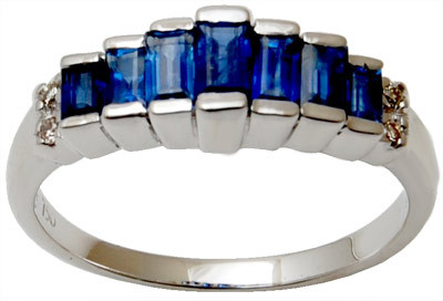 Blue Saphire And Diamond Gold Ring