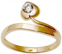 White Stone Diamond Gold Heart Rings
