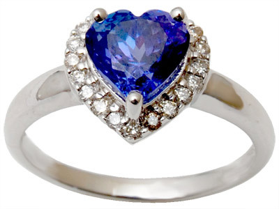 Gemston Heart Cut Tanzanite Gold Diamond  Rings