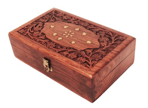 Decorative Jewelry Box Hand Carved With Floral Brass Inlay