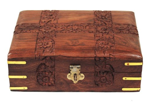 Wooden Jewelry Box Intricately Carved Floral Patterns