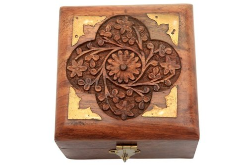 Hand Carved Jewelry Box Intricate Floral Patterns Brass Inlay & Red Velvet Interiors