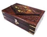 Decorative Wooden Jewelry Storage Box Brass Inlay Velvet Interiors
