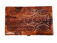 Hand Carved Rosewood Jewelry Box with Intricate Floral Patterns & Red Velvet Interiors