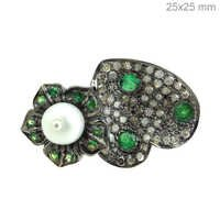 Tsavorite Pearl Silver Diamond Ring