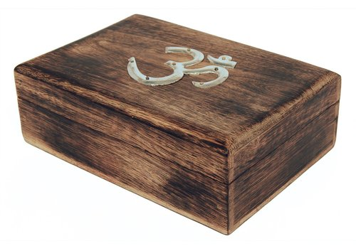 Hand Carved Jewelry Box with Auspicious OM Symbol