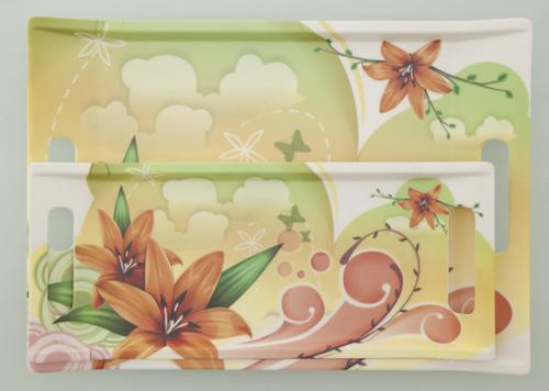 Valerio - Orange Lilium - Set Of 2 Melamine Trays
