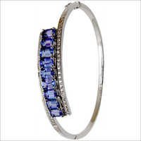 Octagon Cut Tanzanite White Gold Half Bangle