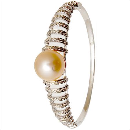 Sea Water Pearl Diamond Half Bangle